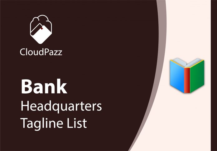 banks headquarters and tagline complete list of indian