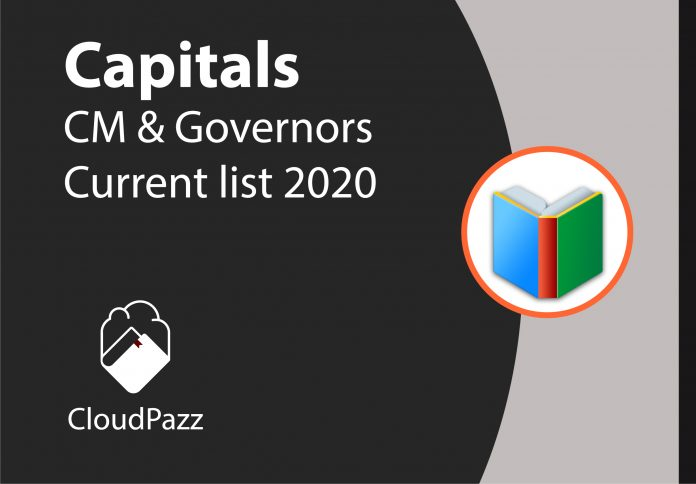 indian states capitals and chief ministers and governors 2020